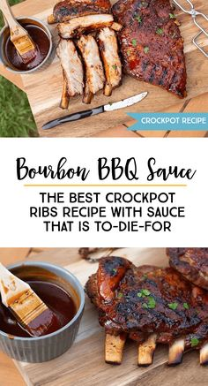 Learn how to make THE BEST Bourbon BBQ Sauce Ribs for your next family get-together or holiday party. crockpot slowcooker ribs recipe *These Crockpot ribs are so delicious and simple. Restaurant quality every time! Rib Recipes, Sauce Recipes, Slow Cooker Recipes, Crockpot Recipes, Delicious Recipes, Recipies, Healthy Recipes, Slow Cooker Pork Ribs, Honey Chipotle Chicken