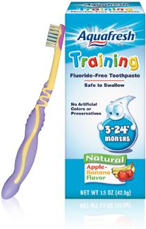 Training toothpaste - fluoride free so it's safe to swallow