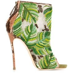 Dsquared2 Embroidered Boots ($1,876) ❤ liked on Polyvore featuring shoes, boots, ankle booties, booties, обувь, green, snakeskin boots, stiletto booties, leather stiletto boots and green booties
