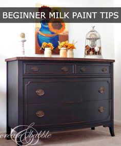This old dresser was given a new life with milk paint. See my beginner tips for painting with milk paint | createandbabble.com