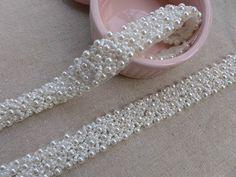 Wedding Pearls Beaded Trim for Bridal Sash, Headbands, Beaded Belt, Wedding Accessories