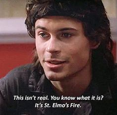 Pin for Later: 15 Movie GIFs That Prove Rob Lowe Has Been Sexy Since the Dawn of Time When he gets philosophical in St. Elmo's Fire in 1984.