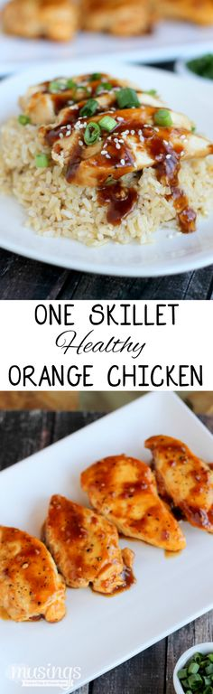 One Skillet Healthy Orange Chicken and Rice - excellent! This one is definitely a keeper! Healthy Orange Chicken, Easy Chicken And Rice, Healthy Chicken Recipes, Asian Recipes, Cooking Recipes, Chicken Rice, Fun Recipes, Sweets Recipes, Drink Recipes