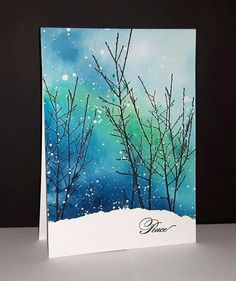 Snow winter trees. Such a beautiful card and wonderful painting idea.
