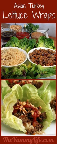 Asian Turkey Lettuce Wraps. A healthy meal, appetizer, or party buffet. Always a crowd pleaser! TheYummyLife.com