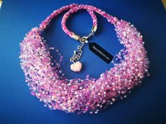 Necklace pink and lila by Manufaktura Leo Leather Working, Leo, Jewlery, Crochet Earrings, Jewelry Making, Pink, Handmade, Fashion, Moda