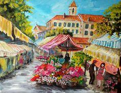 Il mercato dei fiori....acrilico.
