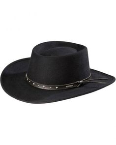 Stetson Black Hawk Crushable Wool Gambler Hat Cowboy Hat Styles 615c79cd69a6