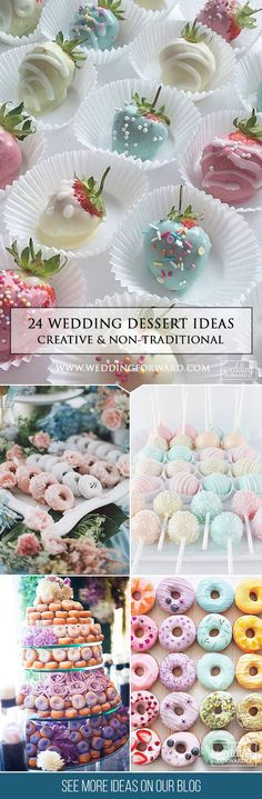 Wedding Reception Food - If you need a creative solution for your wedding dessert, look through our new listing of non-traditional wedding dessert ideas below. Pick the best! Wedding Reception Food, Wedding Desserts, Wedding Day, Trendy Wedding, Reception Ideas, Wedding Blog, Wedding Venues, Gold Crown Cake Topper, Unicorn Wedding
