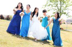 blue bridesmaid dresses.