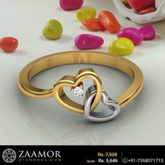 Blaine Diamond Ring #zaamordiamonds #diamondring #diamondrings #dualheartring #heartring #heartrings #heartdiamondrings #heardiamondring #dualheart #rings #ring #giftjewelry #giftjewellery Gold Jewelry Simple, Gold Rings Jewelry, Gold Bangles, Jewellery, Gold Ring Designs, Gold Earrings Designs, Necklace Designs, Plain Gold Ring, Gold Finger Rings