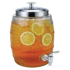 Glass beverage dispenser with a metal lid and easy turn spout. Product: Beverage dispenserConstruction Material: Glass and metalColor: ClearFeatures: Gallon capacityEasy turn spout Dimensions: 11 H x 7 DiameterCleaning and Care: Hand wash Glass Beverage Dispenser, Pickle Jars, Beyond The Rack, Fruit Punch, Party Guests, Sweet Tea, Barrel, Beverages, Drinks
