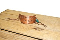 """""""You're the Moon in My Shine"""" Copper Chain Bracelet 