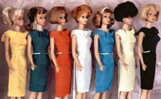 Vintage Barbie Fashion Pak Silk Sheath Dress (1962-1963)      Came in Seven Different Colors:     Gold  Green  Red  White  Turquoise  Yellow   Black  http://www.fashion-doll-guide.com/Vintage-Barbie-Fashion-Pak-Silk-Sheath-Dress.html