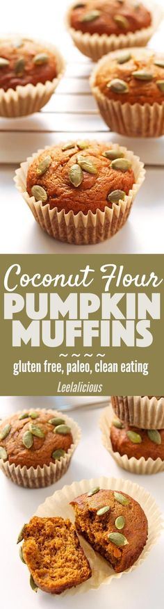Paleo - These delicious and healthy Coconut Flour Pumpkin Muffins are paleo, gluten free and clean eating. They make a delicious breakfast or snack. It's The Best Selling Book For Getting Started With Paleo Paleo Baking, Gluten Free Baking, Gluten Free Recipes, Weight Watcher Desserts, Paleo Pumpkin Muffins, Pumpkin Recipes, Low Carb Dessert, Paleo Dessert, Dessert Recipes
