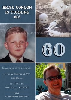5x7 60th Birthday Invitation (Can be altered for any milestone birthday) on Etsy, $15.00