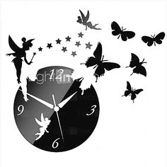 3D DIY Modern Style Angle Butterfly Acrylic Mirror Wall Clock 2016 - ₩13051