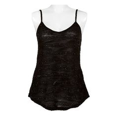 BKE Metallic Tank Top ($15) ❤ liked on Polyvore featuring tops, tank tops, shirts, tanks, black, polyester shirt, striped tank, bke shirts, metallic tank top and bleach shirt