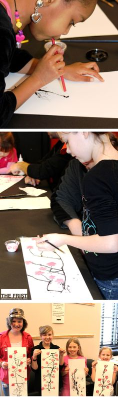 Cherry Blossom Artwork: 1. make a  dot at the bottom of your paper w/blk India ink or watered down blk paint 2. W/a straw, blow the dot toward the top of the paper to make a long branch. 3. Repeat this process to make branches. 4. dip a larger paintbrush in red and white paint. 5. At the end of each branch, paint 5 circles clustered together to create a pink tinted cherry blossom flower. 6. You may embellish your flower by gluing scrap paper or glitter to your flower. You're done!