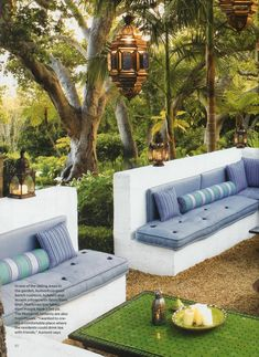 Moroccan inspired outdoor room by Helene Aumont built in seating with a low wall outdoors with low tables and lanterns lovely cushions such serene vibe Outdoor Daybed, Outdoor Seating, Outdoor Rooms, Outdoor Gardens, Outdoor Living, Outdoor Furniture Sets, Outdoor Decor, Banco Exterior, Interior And Exterior