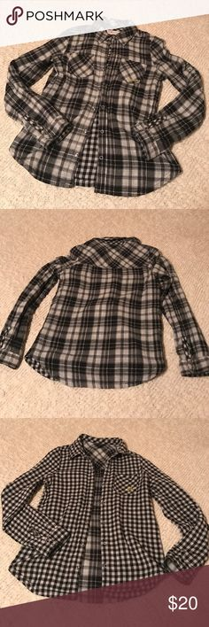 """Billabong Reversible Flannel Shirt Fun black and white flannel!! Two shirts in one, Plaid or gingham! Snap closure. Good preloved condition! Shoulders 14"""" across. Chest 17"""" across. Total length 27"""". Billabong Tops"""