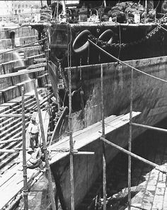 HMS Camperdown in Somerset Drydock in Malta after the tragic HMS Victoria collision and sinking, summer of 1893