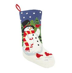 LivingQuarters Stitched Snowman Stocking