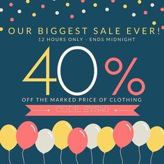 Here it is! Our biggest sale ever has began! - Take 40% off the marked price of clothing! - Enter code: SYS40 at checkout for the discount to apply! - Hurry this sale is only for 12 hours only! www.minimacko.com.au