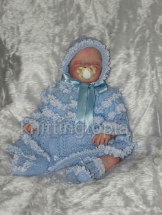 Hand knitted baby lace matinee set 0 - 3 months - made to order £40.00