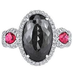 Natural Fancy GIA Cert 6.21 Carat Black Diamond Ruby Gold Ring