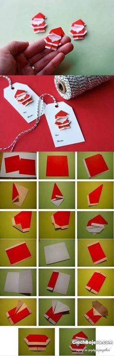 Papierowe karteczki z mikołajem do oznaczania prezentów