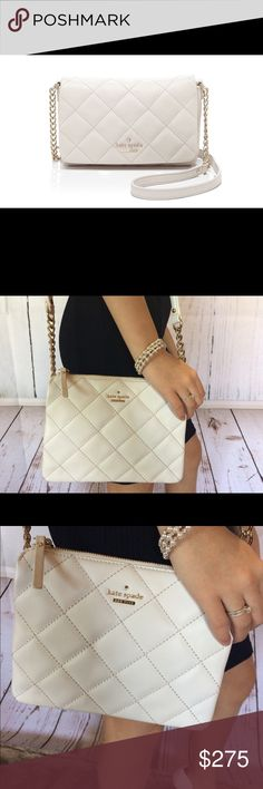 💋Kate Spade white quilted Cross Body Purse Timeless Kate Spade White Quilted cross body with gold accents! Stunning😍 If I don't sell it soon I'll probably keep!😂 comes with a lovely 💋 surprise Free Gift!( please refer to my free gift image in my closet for more details) Thank you for stopping by and happy poshing😘 kate spade Bags Crossbody Bags
