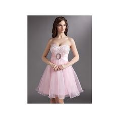 Blushing Pink Empire Sweetheart Knee Length Organza Homecoming Dress... ($129) via Polyvore featuring dresses, knee length dresses, pink sequin dress, knee length cocktail dresses, pink dress and lace dress