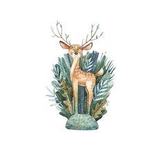 Art And Illustration, Hirsch Illustration, Watercolor Illustration, Watercolor Art, Hirsch Wallpaper, Deer Wallpaper, Deer Art, Mundo Animal, Cute Art