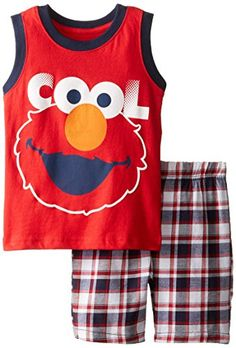 Sesame Street Boys' Elmo Cool Sleeveless Tee and Plaid Short http://www.beststreetstyle.com/sesame-street-boys-elmo-cool-sleeveless-tee-and-plaid-short/ #fashion   Sesame Street Boys' Elmo Cool Sleeveless Tee and Plaid Short Sleeveless Elmo shirt with song hand feel and plaid short with elastic around the waist