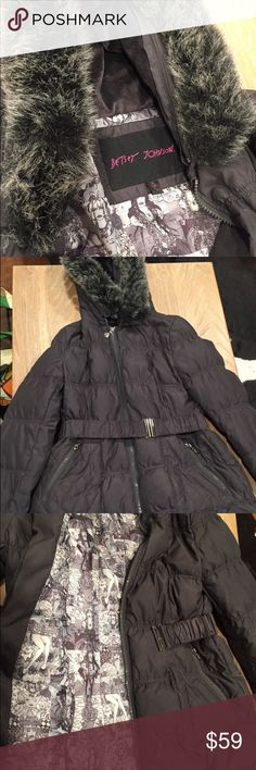 Betsey Johnson Women's Puffy Jacket Jacket comes with removable fur hood and belt that cinches perfectly at the waist. Fun comic print inside. Size is Medium. Excellent condition. Betsey Johnson Jackets & Coats Puffers