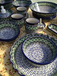 Kiwi Pattern!  One of our top selling patterns for our bridal registries and wedding gifts.  Available at www.morepolishpottery.com
