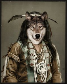 Vintage Native American Wolf Spirt Guide Totem, Ojibwa Tribe