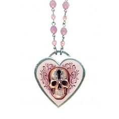 Large Skull Keyhole Necklace With Pink Faceted Beads
