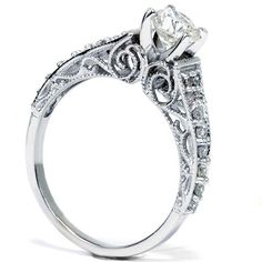 Vintage Diamond Engagement Hand Engraved Antique Art Deco .60CT DIAMOND Anniversary Ring 14K White Gold Size 4-9, $499