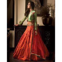 Orange & Green Bhagalpuri Silk Semi Stitched Lehenga