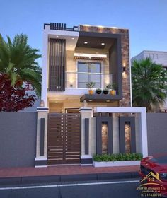 Top 35 Cool House Design Ideas Ever Built - Engineering Discoveries Modern Exterior House Designs, Narrow House Designs, Modern Small House Design, Small House Exteriors, Cool House Designs, Modern House Facades, Bungalow Haus Design, Duplex House Design, House Front Design