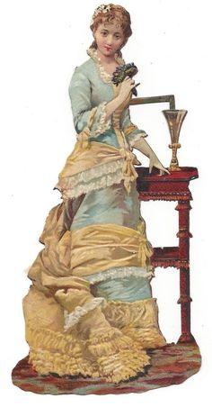 Victorian Die Cut Scrap Very Elegant Lady of Fashion