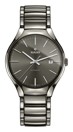 new concept e65d1 1240b From the True collection of Swiss watchmaker Rado, this elegant men s  timepiece is crafted in sleek plasma ceramic and features rhodium coloured  hands and ...