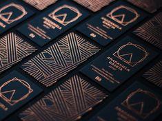 Copper Foil on Black Business Card Design Geometric Line Work Foil Business Cards, Luxury Business Cards, Black Business Card, Business Card Design, Creative Business, Name Card Design, Identity Design, Identity Branding, Visual Identity