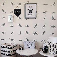 We love our fabulous peel and stick dinosaur wall stickers. At Parkins Interiors we have fully embraced the trending monochrom Boys Bedroom Sets, Big Boy Bedrooms, Kids Bedroom, Childrens Bedrooms Boys, Toddler Rooms, Boy Rooms, Toddler Bed, Chambre Nolan, Boys Dinosaur Bedroom