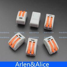 100 Unids 2 Pin Universal compacto conductor conector del bloque de terminales de alambre arnés de cableado con palanca