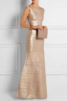 1abb87446a0f Herve Leger Floor-length Gold Metallic Mermaid Foil Gown Herve Leger Dress,  Mermaid Gown