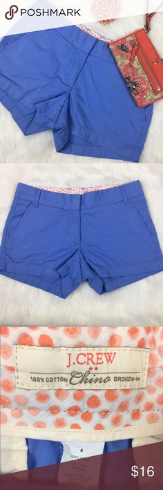 """J.Crew Chino Broken-In Shorts J.Crew Chino Broken-In Shorts Blue. Size 4 100% cotton 32"""" waistband 11"""" length. Small imperfection near zipper and maybe a hint of wash wear. Offers welcomed J. Crew Shorts"""