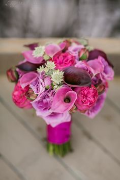 Bright, fresh and fun bridal bouquet in pinks and purples by Diane Gaudett. ©MelaniLustPhotography